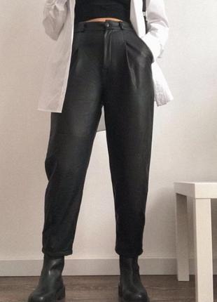 Эко кожа брюки штаны чёрный высокая посадка