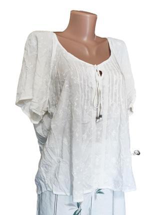 Блузка белая с вышивкой m&s marks & spencer