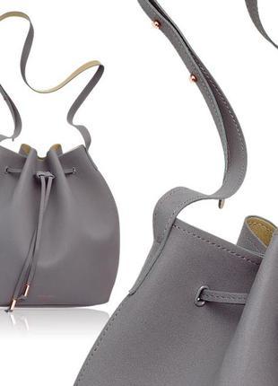 Замшевая сумка мешок с длинной ручкой