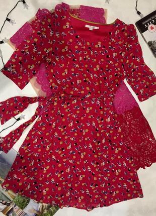 Винтажное шифоновое платье на поясе