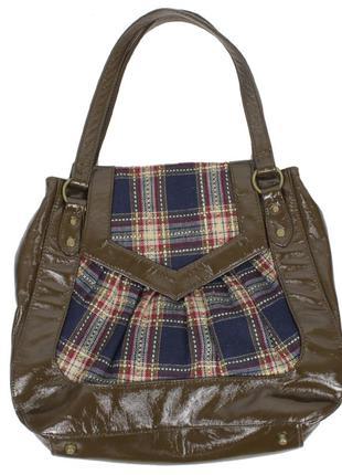Лаковая сумочка с текстильными вставками
