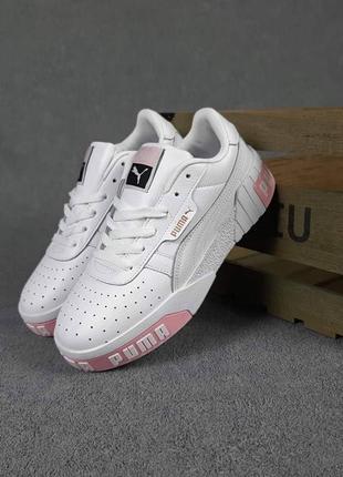 Женские кожаные кеды, кроссовки puma cali (белые с розовым) #пума