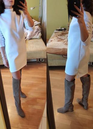 Оверсайз трикотажное платье туника мини белое на флисе платье-худи2 фото