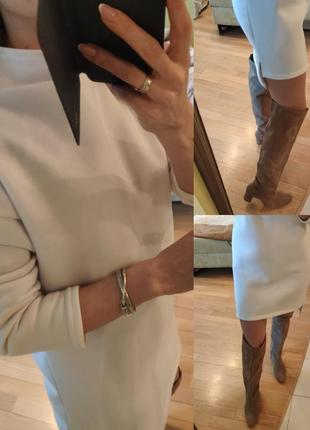 Оверсайз трикотажное платье туника мини белое на флисе платье-худи3 фото