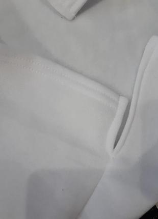 Оверсайз трикотажное платье туника мини белое на флисе платье-худи6 фото