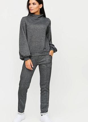 Теплый костюм свитшот плюс штаны из плотной зимней ткани с добавлением люрекса