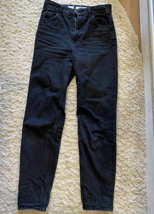 Чёрные джинсы mom, завышенная талия оверсайз