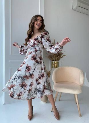 Платье в цветочный принт. есть расцветки!!!