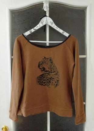 Брендовый свитшот с принтом леопард