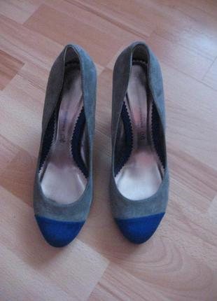 Замшевые туфли замш каблуке