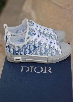 Женские кроссовки кеды dior low grey/blue серого цвета