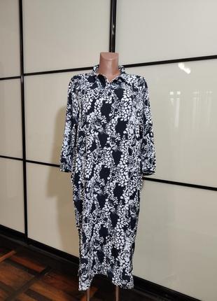 Платье-рубашка оверсайз в черно-белый принт monki