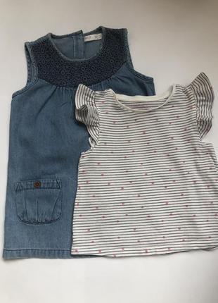 Джинсовое платье и футболка на девочку