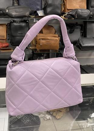 Лавандовая сумка сиреневая сумка кожаная шкіряна сумка жіноча