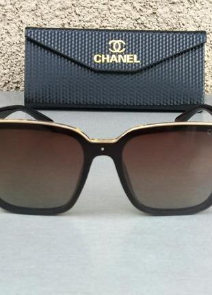 Chanel очки женские солнцезащитные коричневые с золотом поляризированые