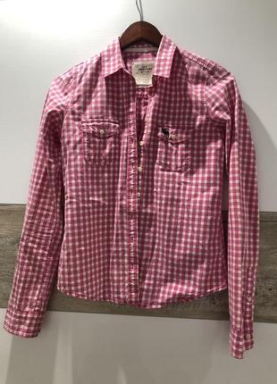 Сорочка abercrombie & fitch клітинка розовая кежуал бавовна