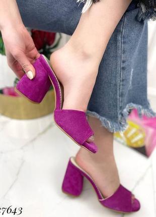 Сабо кожаные на каблуке (босоножки)