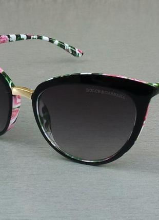 Dolce & gabbana очки кошечки женские солнцезащитные черные с цветочными яркими дужкамм