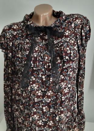 Блузка-рубашка с длинными рукавами с рюшами