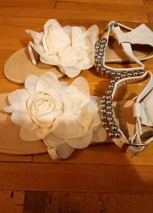 Босоножки молочні вєтнамки сандалі з трояндою6 фото