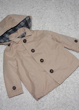 Стильный бежевый плащ zara на 9-12 месяцев рост 80 см куртка ветровка