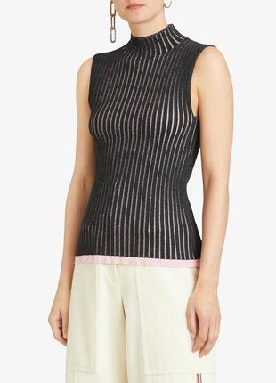 Двухцветный рубчатый свитер без рукавов, burberry