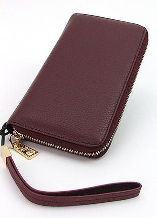 Бордовый женский кожаный кошелек на молнии2