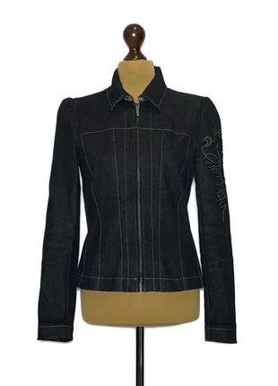 Классный джинсовый жакет на змейке от люкс бренда