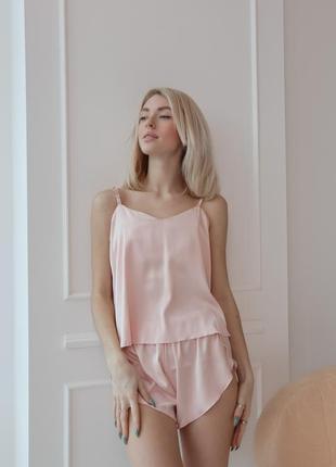 Шелковая розовая пижама майка с шортами, піжама