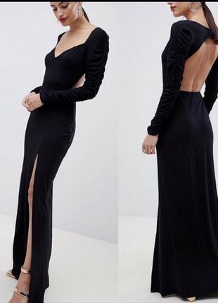 Шикарное вечернее длинное платье по фигуре с разрезом asos