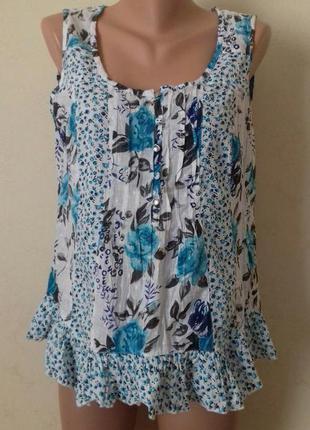 Натуральная блуза с принтом marks & spencer