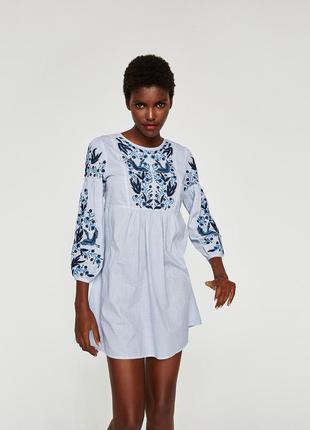 Платье c вышивкой zara
