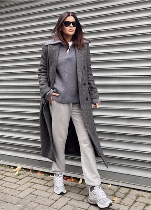 Длинное двубортное шерстяное пальто бойфренд, оверсайз zara