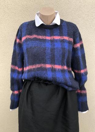 Теплая,пушистая кофта в клетку,джемпер,свитер удлинен. по спинке,большой размер