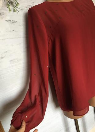 Красивая шифоновая блуза бордового цвета.3 фото