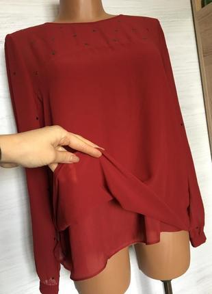Красивая шифоновая блуза бордового цвета.4 фото