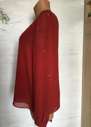Красивая шифоновая блуза бордового цвета.5 фото