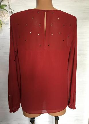 Красивая шифоновая блуза бордового цвета.6 фото
