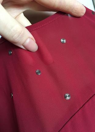 Красивая шифоновая блуза бордового цвета.8 фото