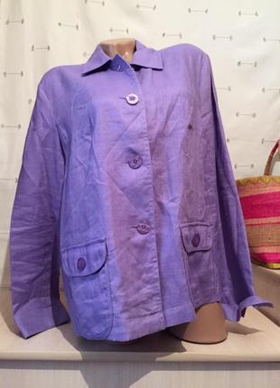 Льняной фирменный пиджак / жакет лён