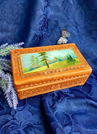 Шкатулка ссср дерево резьба с художественной росписью поляна вятка артель победа советская