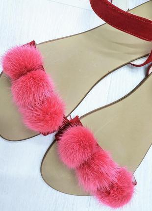 Женские замшевые босоножки с мехом норки, жіночі замшеві босоніжки з хутром норки
