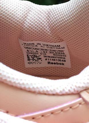 Кроссовки персиковые (пудра, розовые) натуральная кожа в стиле reebok classic5 фото