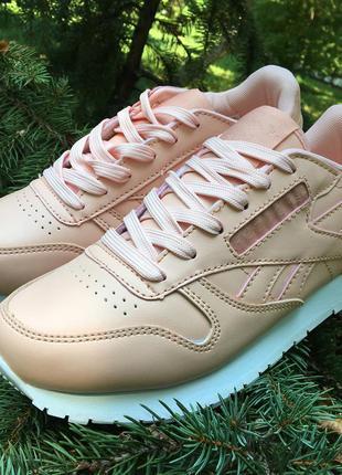 Кроссовки персиковые (пудра, розовые) натуральная кожа в стиле reebok classic