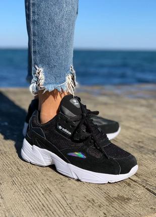 Женские замшевые кроссовки adidas falcone black черного цвета
