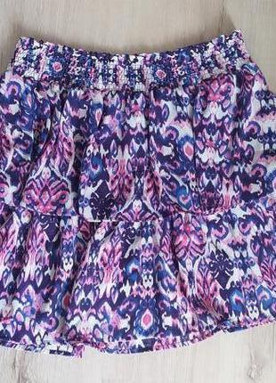 Принтованная мини-юбка c&a на широкой резинке — размер l