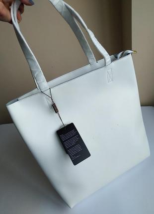 Кожаная сумка шоппер белая 2 в 1