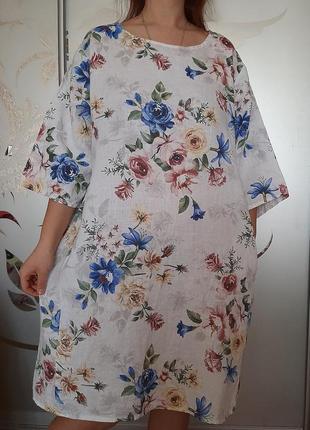 Лен платье льняное 100% лен цветы бохо италия