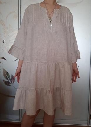 Льняное платье лен стиль бохо оверсайз италия
