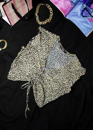 Ніжна леопардова блуза (топ) shein з затяжкою, розмір l